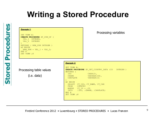 Stored procedures in Firebird
