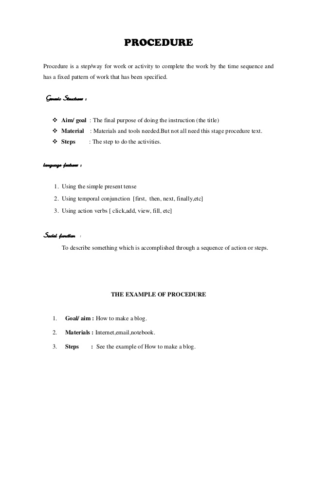 The Example Of Procedure Text
