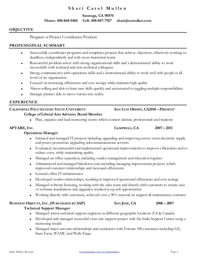 project coordinator resume samples Kleo.beachfix.co