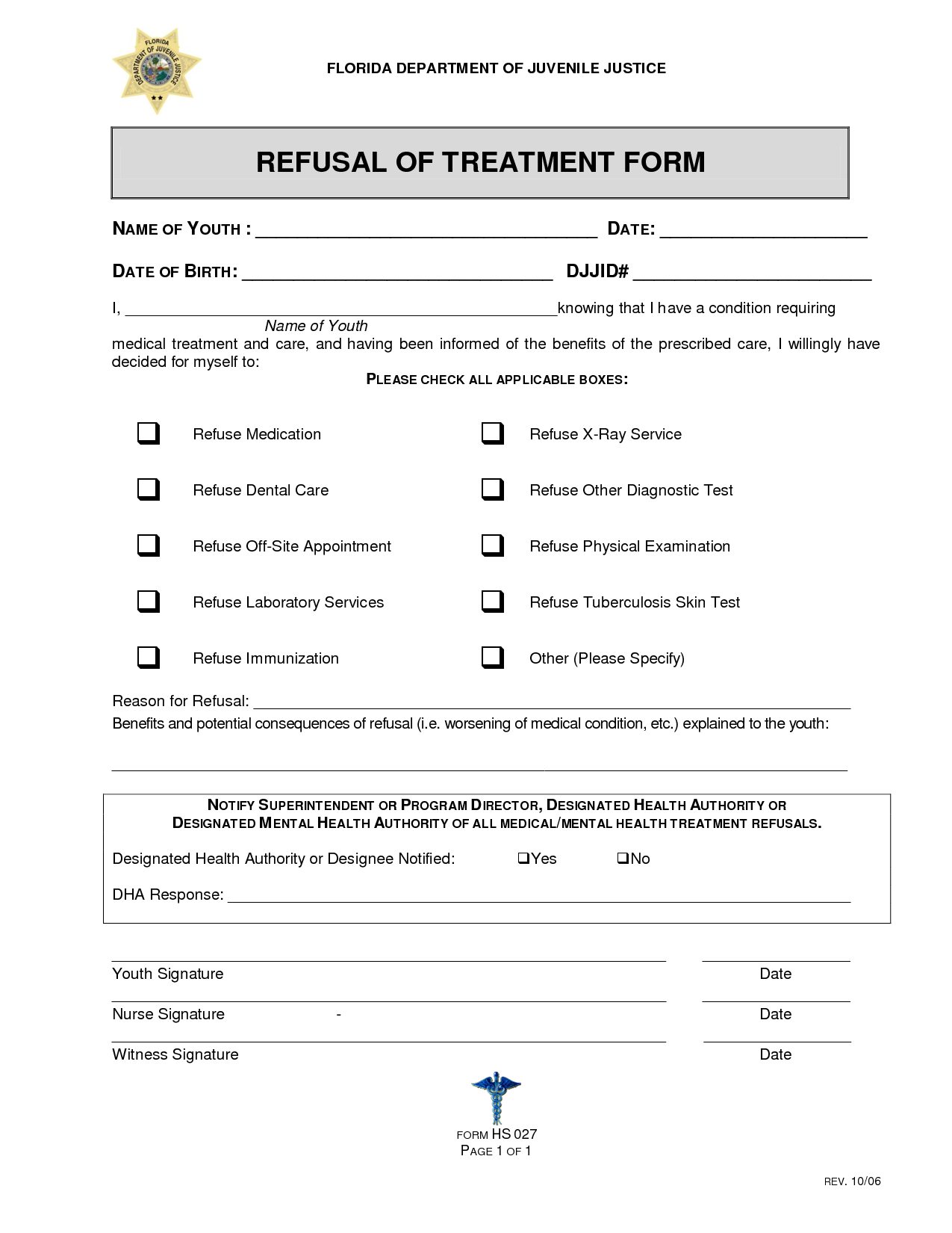 Printable Dental Treatment Refusal