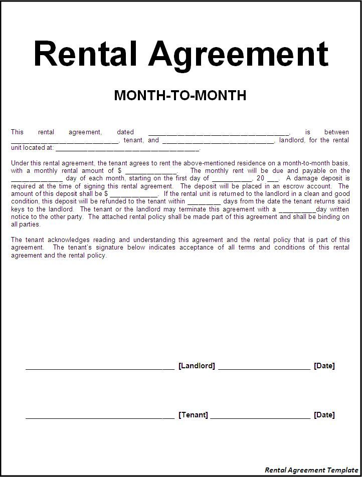 rental agreement template printable sample rental lease agreement