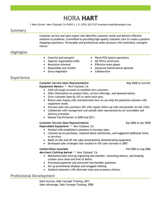 Unforgettable Customer Service Representatives Resume Examples to