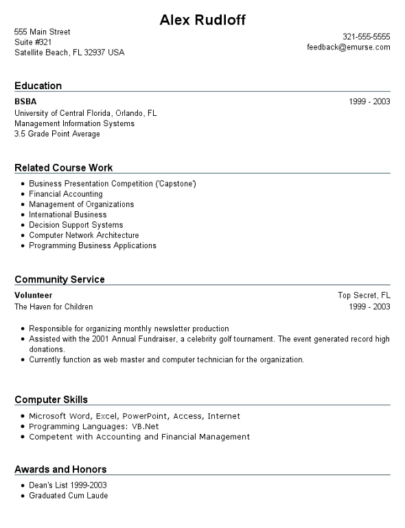 resume for first job no experience