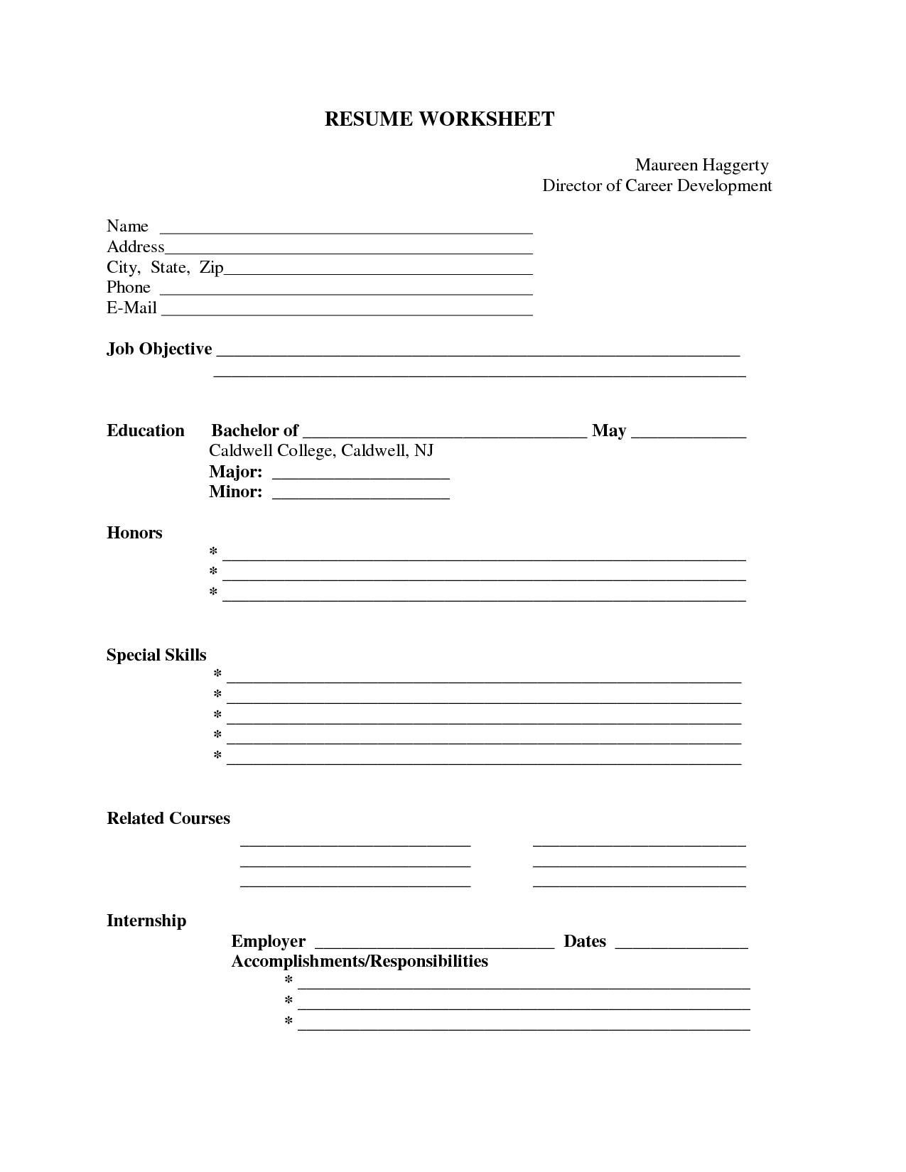 Free Printable Blank Resume Forms http://.resumecareer.info