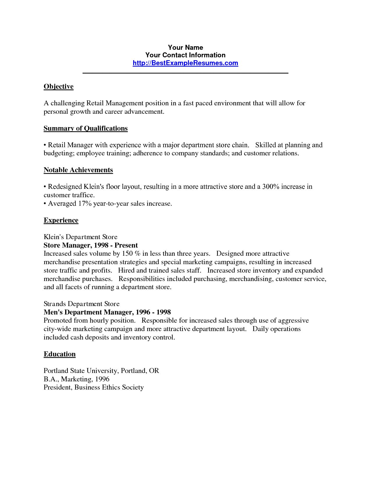 Objective For Retail Resume jmckell.Com