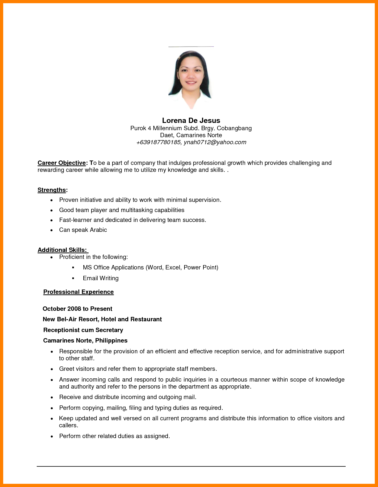 simple resume objective examples Kleo.beachfix.co
