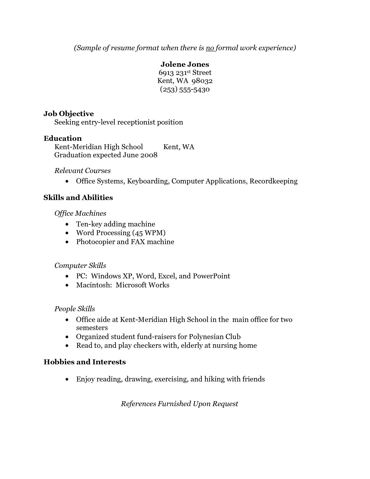 resume with no work experience samples