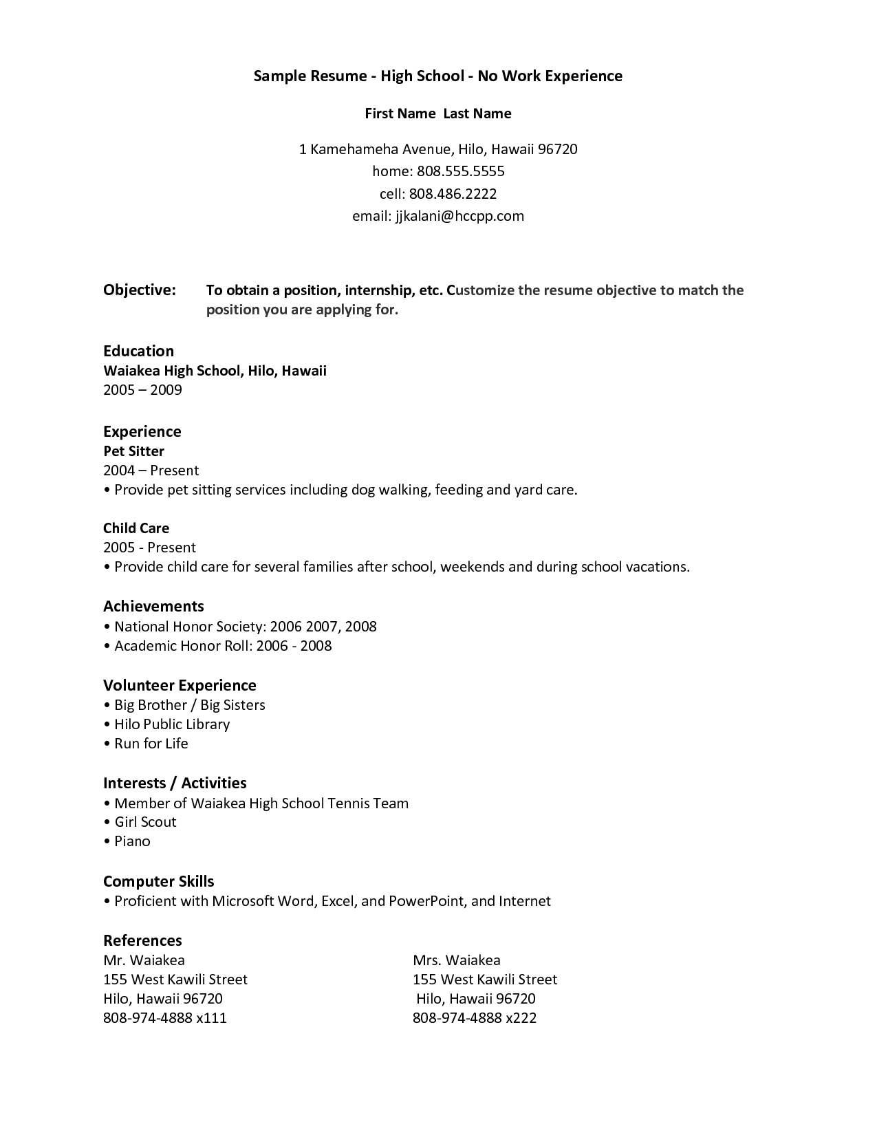 resume samples for highschool students with no work experience