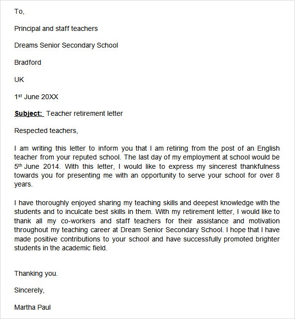 retirement letters for teachers Kleo.beachfix.co
