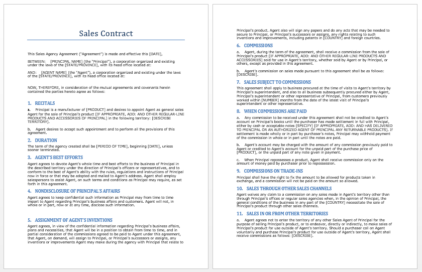 Sales Contract Template Microsoft Word Templates