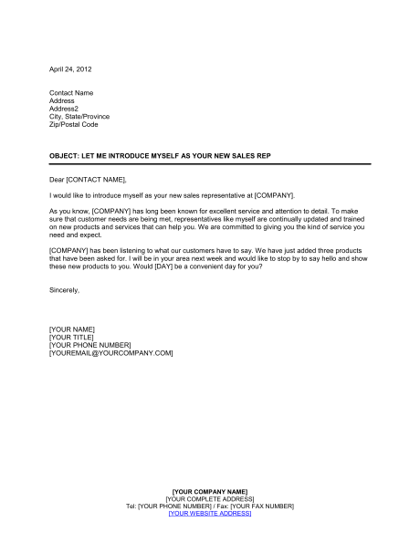 Sales Letter Of Introduction Template For The Sales Rep Or Company