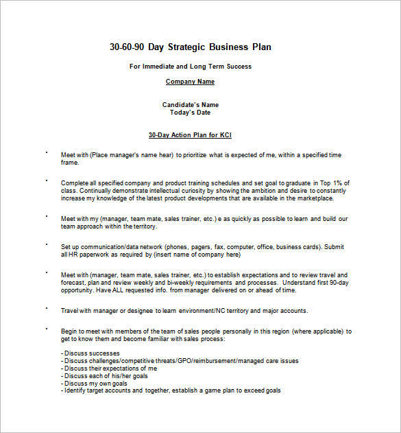 16+ 30 60 90 Day Action Plan Template Free Sample, Example