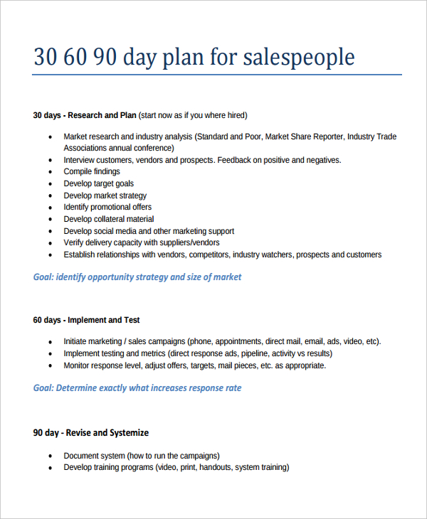 30 60 90 day plan templates Kleo.beachfix.co