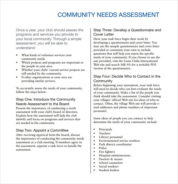 9 Sample Community Needs Assessment Templates to Download | Sample