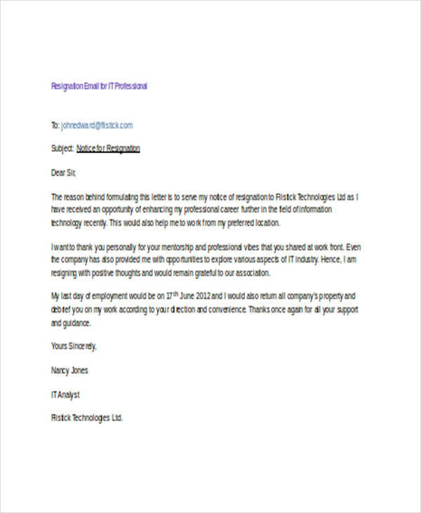 18+ Resignation Email Examples DOC