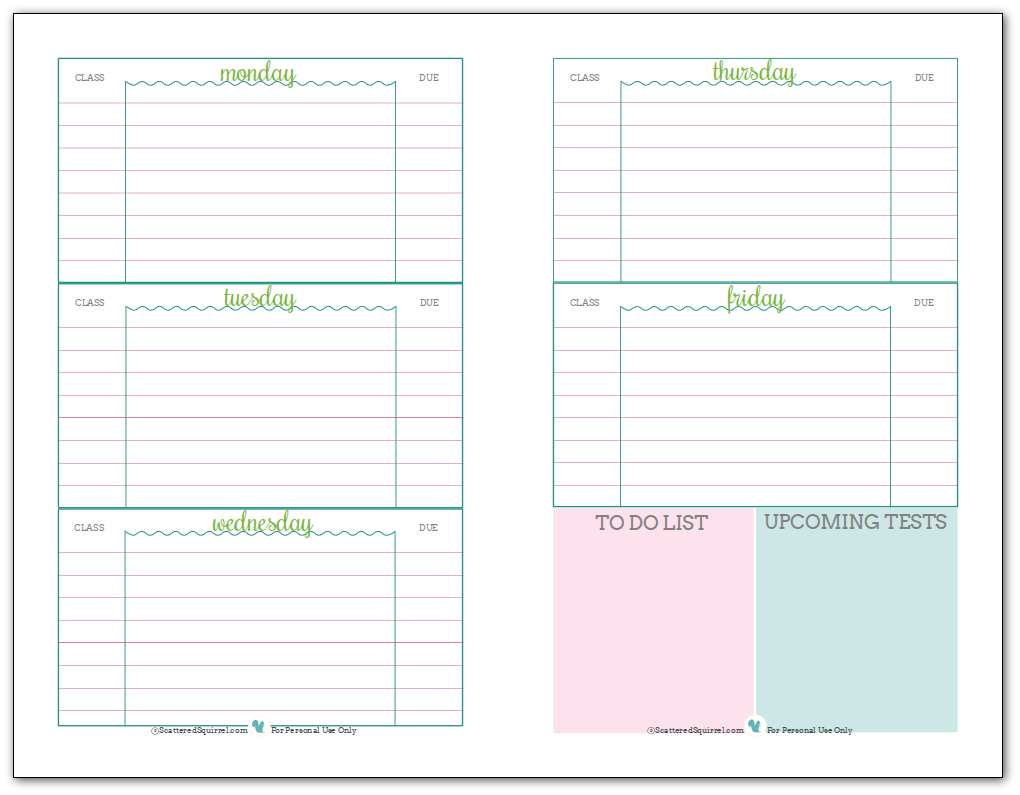 printable school agenda Kleo.beachfix.co