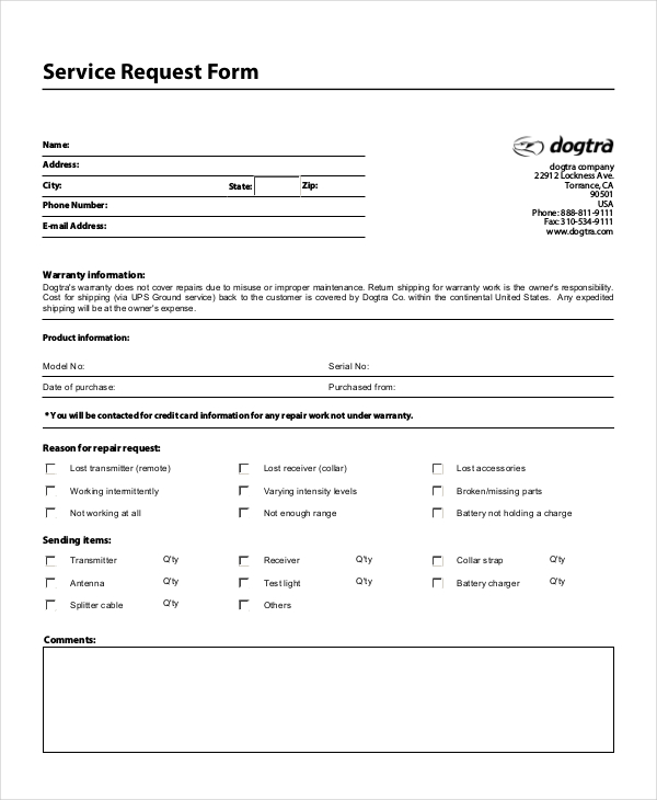 computer repair request form template service request template