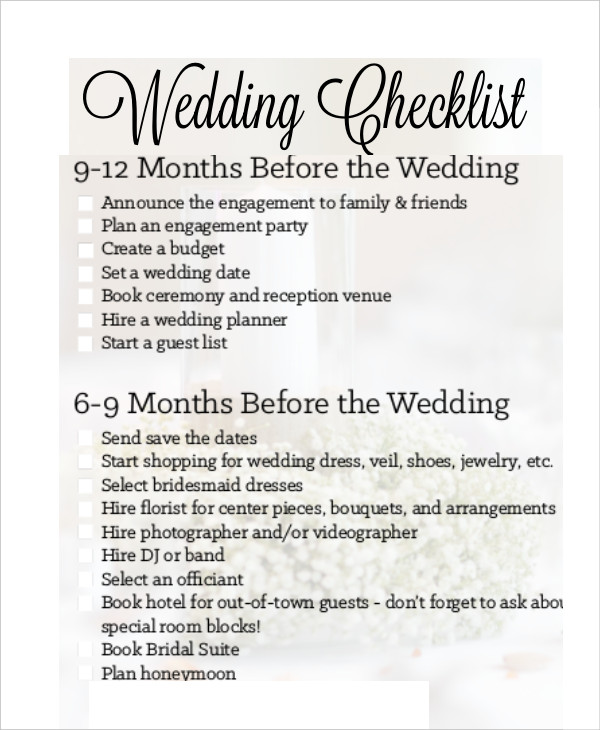Simple Wedding Checklist 23+ Free Word, PDF Documents Download