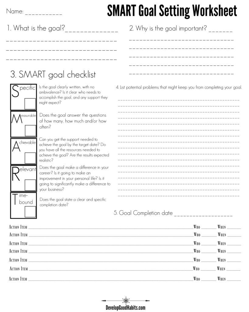 4 Free Goal Setting Worksheets – FREE Forms, Templates and Ideas