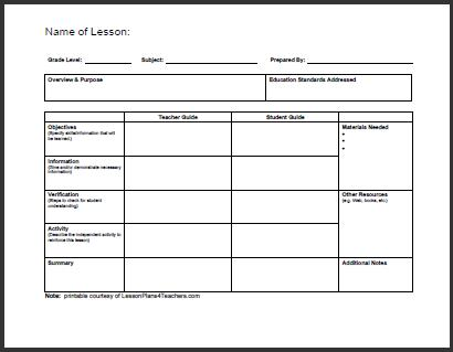 free lesson plan templates for english teachers daily template 1