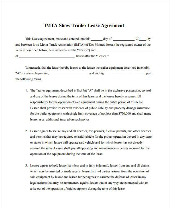 Sample Truck Lease Agreements 9+ Free Documents in Word, PDF