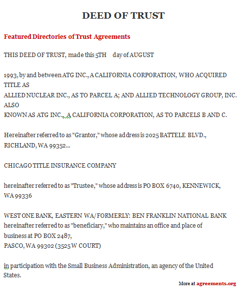 Deed Of Trust Form. View St Page California Trust Deed Forms