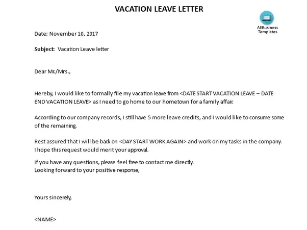 What are some examples of a vacation leave letter? Quora