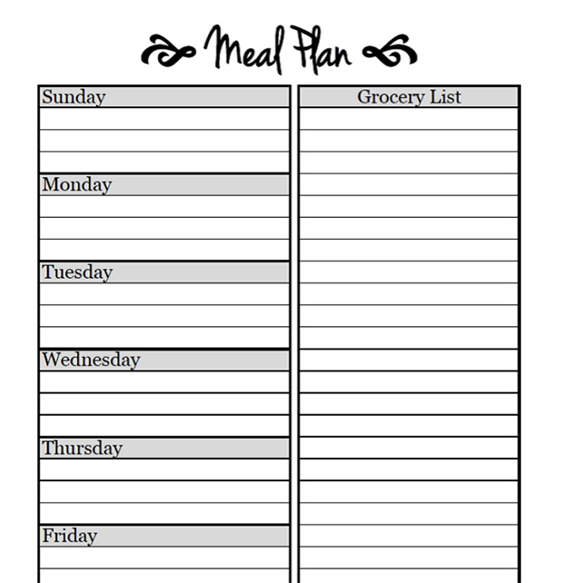 weekly dinner menu planner template Kleo.beachfix.co