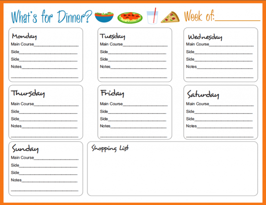 weekly meal menu template Kleo.beachfix.co