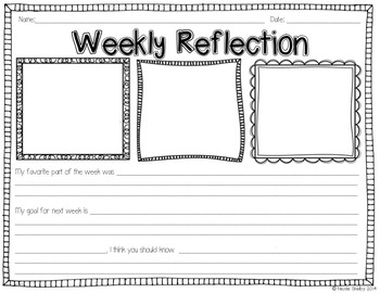 Student Weekly Reflection Sheet (editable) by Nicole Shelby | TpT