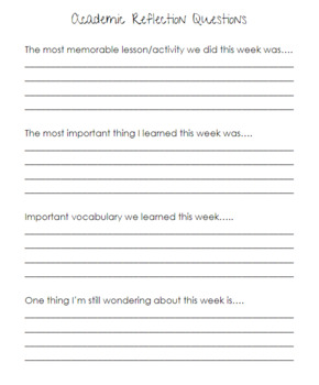 EVERYTHING Student Weekly Reflection Journal by Bright Spots Teaching