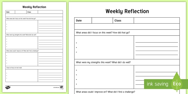 NQT Weekly Reflection Writing Template ROI, Teaching