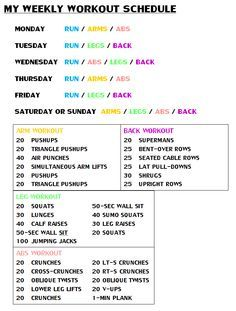 weekly workout schedule  brittney taylor