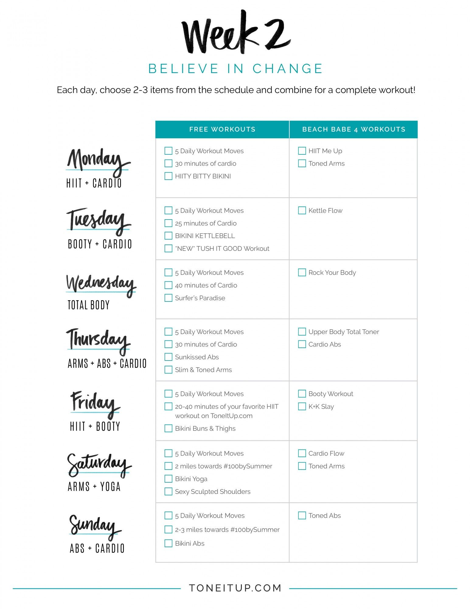 BIKINI SERIES WEEK 2 WORKOUT SCHEDULE | Pinterest | Workout