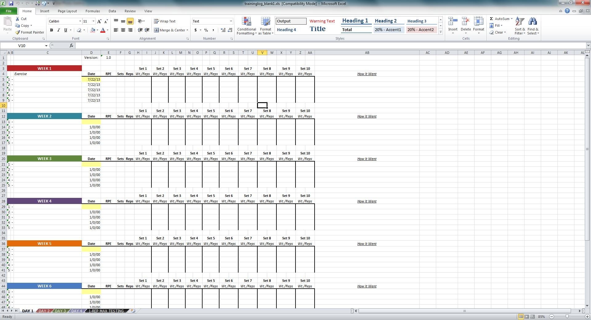 workout tracker spreadsheet Kleo.beachfix.co